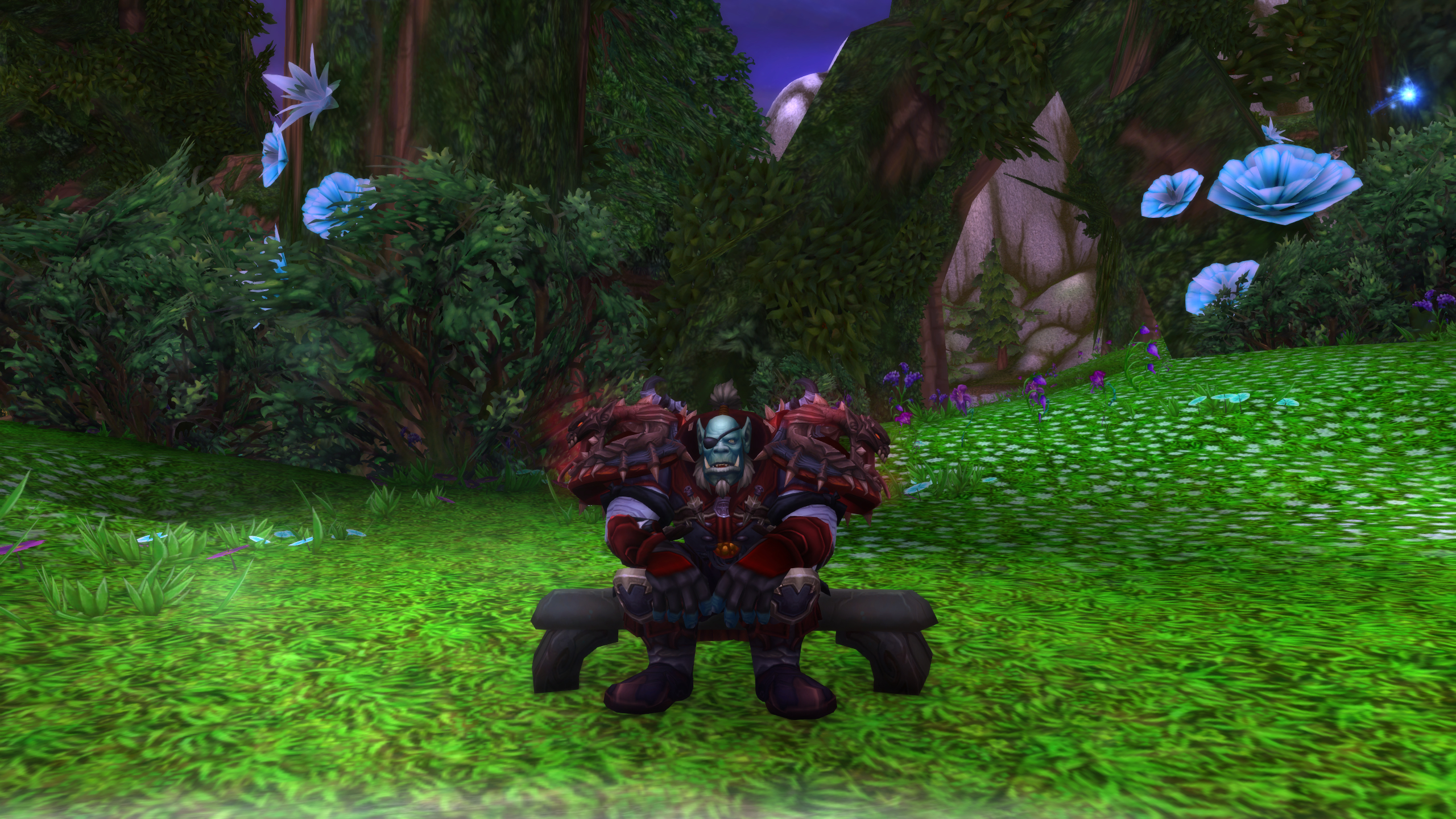 "Postcard from nordrassil -- ""repair bill after 10 wipes in +12 Upper Khara: 300 gold. Flasks and food for raid every week: 1500 gold. sitting on a bench under the world tree? priceless."" / Submitted by neurotic"