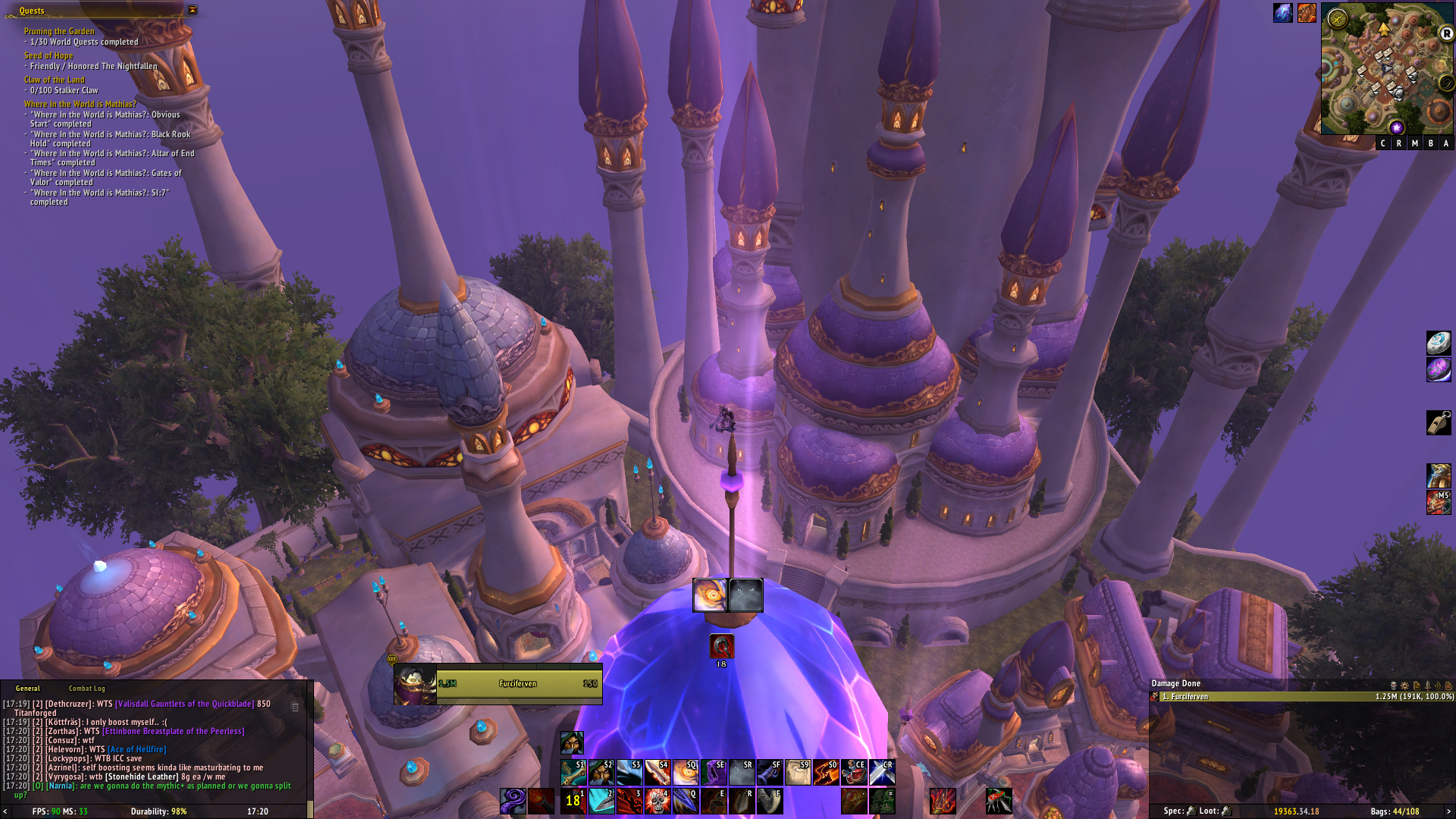 Might not be a fresh screenshot, but one of the first things i thought when i saw Dalaran, was if i could get to the top. And apparently with a little bit of finesse and some grappling hook spams you could! / Submitted by Furci