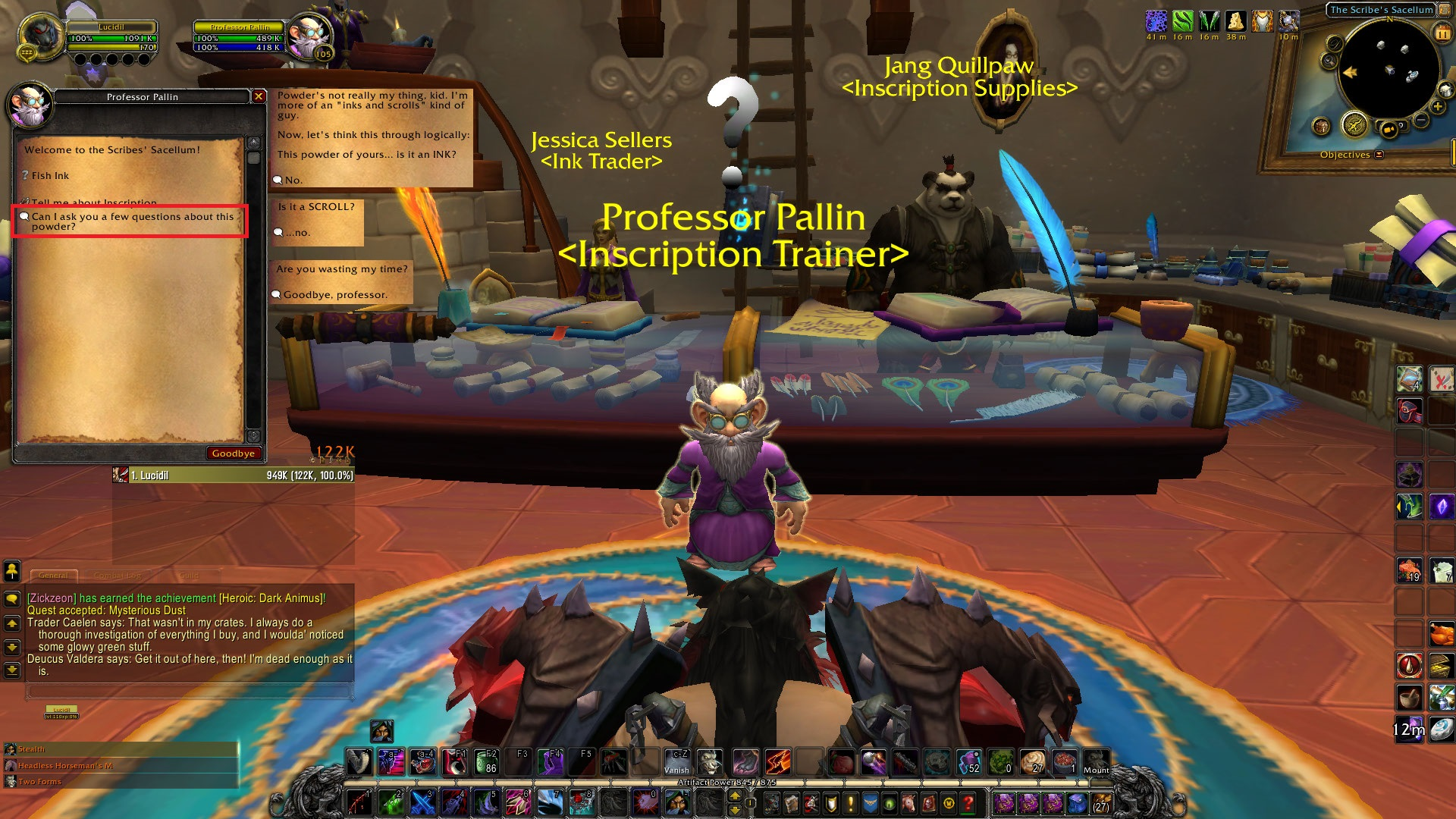 My profession trainer was the best this expansion! :feelings: / Submitted by Elude Stalwart