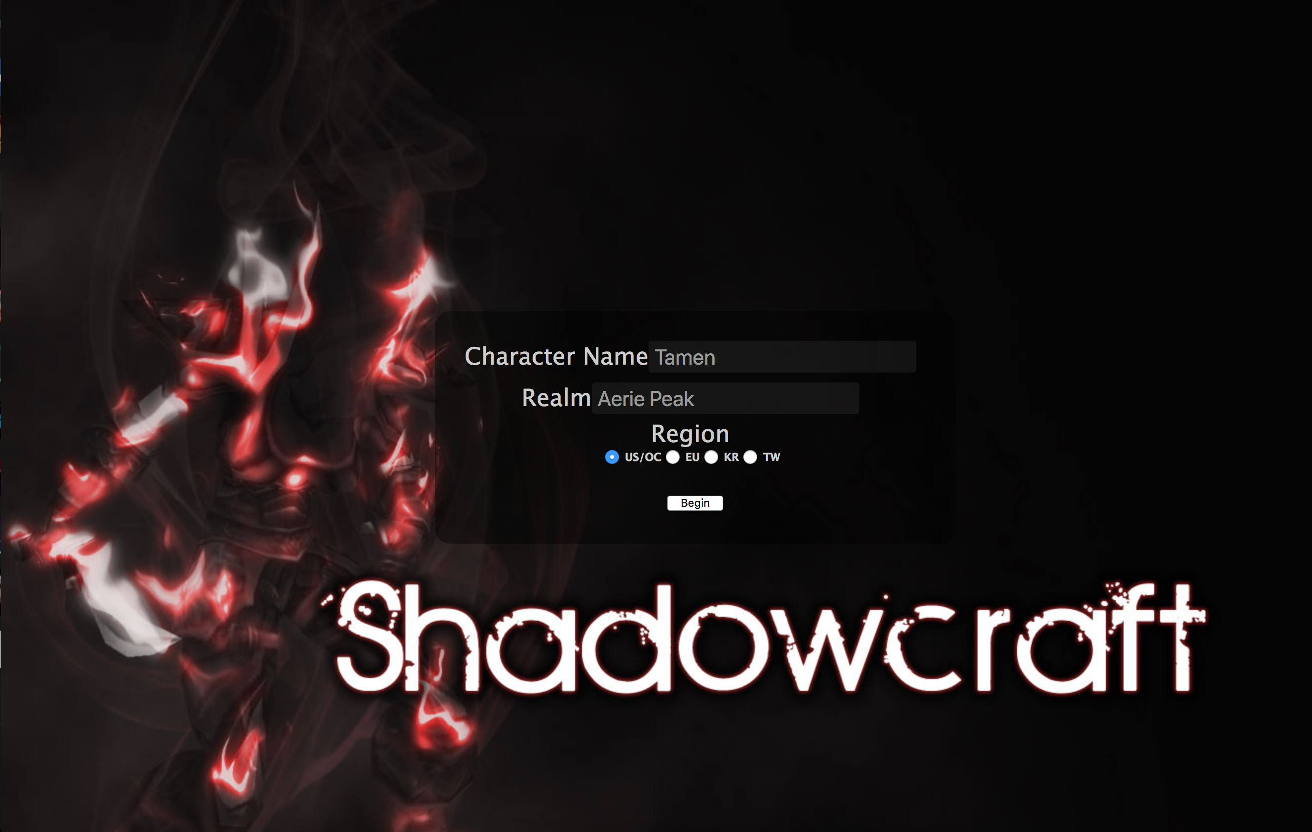 The ShadowCraft home page during the Legion expansion